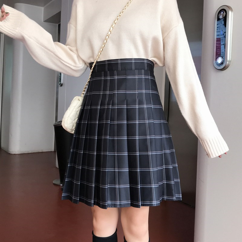 Knee Length Black Plaid Skirt School Girl Plus Size Knee Pleated PLAID SKIRTS image 3