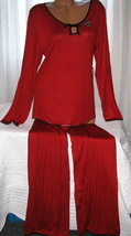 Stretch Plus Size Pajama Set Long Sleeve Long Pants 2X Red Black Dots - $28.99