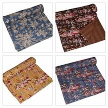 Indian Handmade Quilt Kantha Floral Print Bedspread Cotton Blanket Queen... - £38.77 GBP