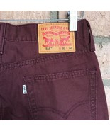 Levi's 514 Straight Fit Mens Jeans 30 x 32 Maroon Purple Pants Canvas We... - $49.49
