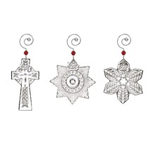 Waterford Crystal 2017 Mini Ornaments Set / 3 Ornaments Snowflake, Cross... - $99.99