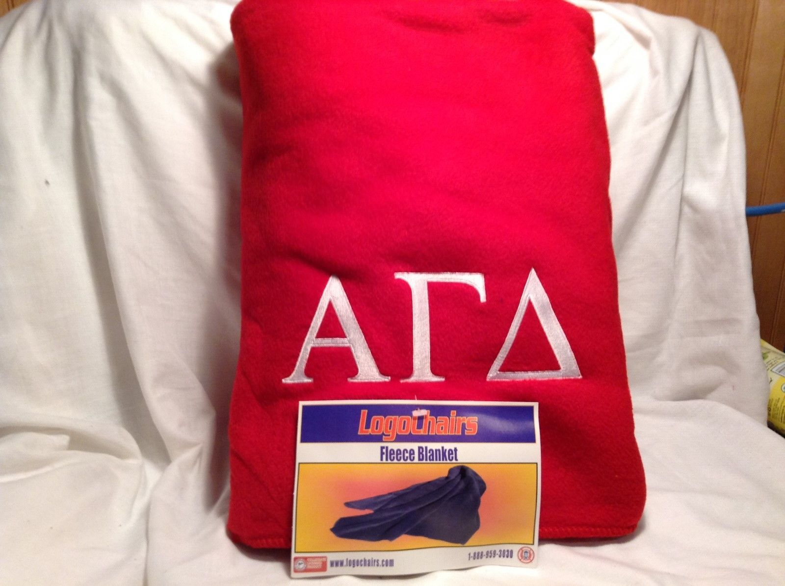 NEW 'Alpha Gamma Delta' Embroidered Red Fleece Blanket by Logo Chairs