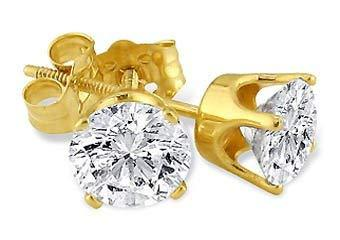 Primary image for 14k Yellow Gold Brilliant Round Cut Diamond Stud Earrings 1.50 Carats