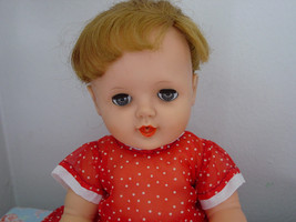 """Vintage 1950s-60s Quality Vinyl Drink & Wet Ponytail Doll w/Clothes 14"""" - $15.00"""
