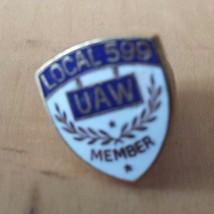 UAW Local 599 Member Hat Lapel Pin Blue White Gold Tone - $12.86