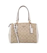 Coach F58291 Small ChristieCarryal Signature Light Khaki Chalk Handbags ... - $185.69