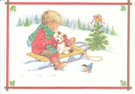 Vintage Christmas Card Boy and Jack Russell Dog and Sled Unused with Env... - $5.93