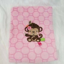 Taggies Pink Monkey Girl Velour Baby Blanket Circles Dots Girl Security B76 - $14.99