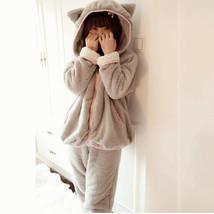 Adults' Kigurumi Pajamas Bear Onesie Pajamas Coral Velve Pink / Gray Cos... - $48.00
