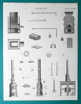 ASSAYING Furnaces Tools - c 1835 Fine Quality Print - $16.20
