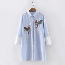 New arrival 2018 Women Bird Embroidered Blouse Shirts fashion Long sleeve high q image 4