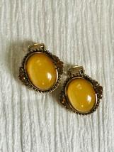 Estate Oval Yellow Jelly Cab w Orange Rhinestone Accents Goldtone Clip E... - $12.19