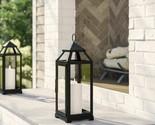 Iron Glass Lantern Candle Holder Black Metal Garden Light Home Room Style Lamp