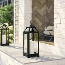 Iron Glass Lantern Candle Holder Black Metal Garden Light Home Room Styl... - $39.59