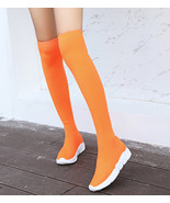 woman knitwear stretch over knee boot, spell color, size 5-10, orange - $48.80
