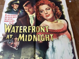 """Waterfront at Midnight 1946 Rare beautiful movie poster, vintage, 27x41"""" - $193.05"""