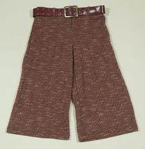 XTRAORDINARY GIRLS SIZE 8 NEW CROPPED CAPRI PANTS & BELT BURGUNDY - $15.98