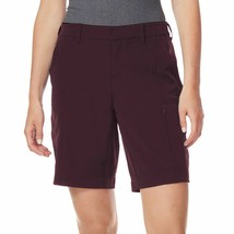 NWT 32 Degrees Women Cool Woven Casual Active Cargo Short with Stretch Wine