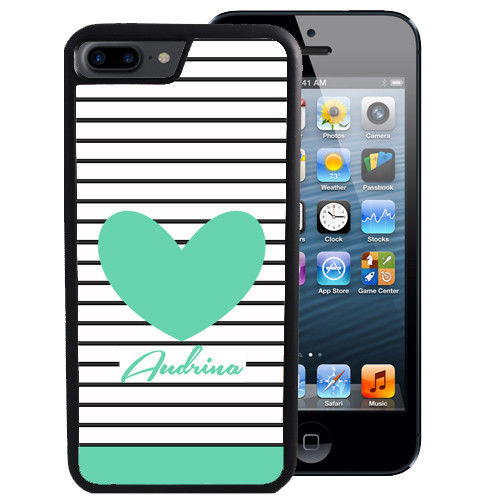 PERSONALIZED CASE FOR iPHONE X 8 7 6 5 SE 5C PLUS RUBBER STRIPES TEAL HEART