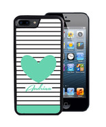 PERSONALIZED CASE FOR iPHONE X 8 7 6 5 SE 5C PLUS RUBBER STRIPES TEAL HE... - $13.98