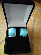 Vintage Sky Blue Aqua Sparkly Enamel Square Silver Tone Statement Earrings - $14.99