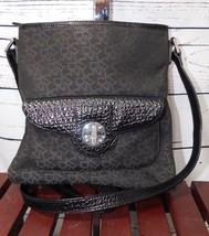 DKNY Authentic Donna Karan Signature Logo Crossbody Bag Canvas & Leather Trim