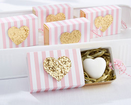 Pink Stripe Gold Glitter Heart Soap Wedding Bridal Baby Shower Favor 25 ... - $80.27+