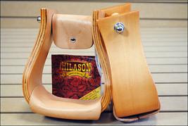 "New Hilason Wood Western Bell Saddle Stirrups 3"" Neck 3"" Tread Leather Foot Grip - $68.99"