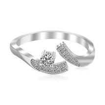 Sterling Silver White Cubic Zirconia Accented Toe Ring with Rhodium Plating - $37.62