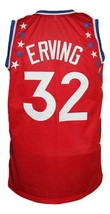 Julius Erving #32 Aba East All Stars Basketball Jersey Sewn Red Any Size image 2