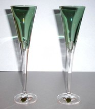 Waterford W Collection Champagne Flute Pair in Fern Green Crystal 400294... - $175.90