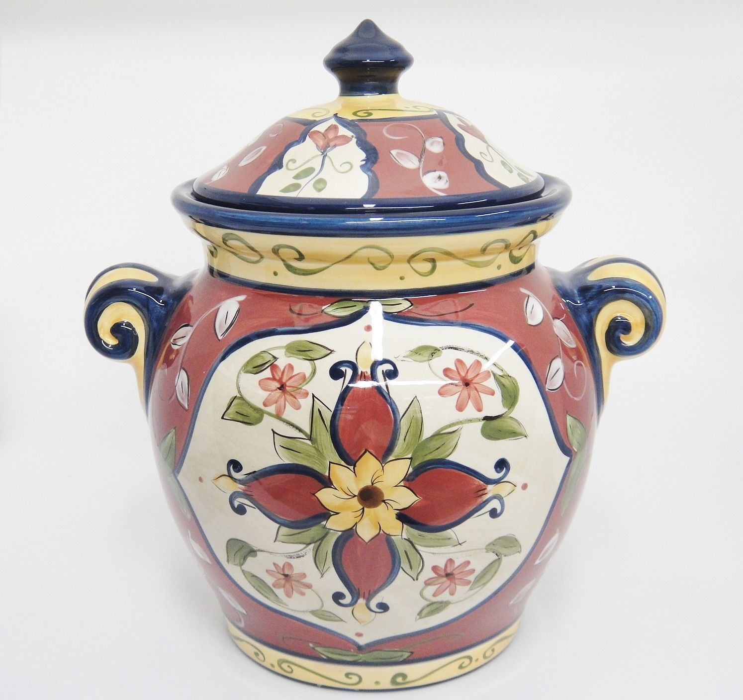 """Pier 1 Vallarta Large Canister Cookie Jar With Lid 9"""" Blue and Rust Unused w Tag"""