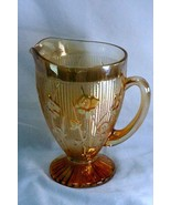 Jeanette Glass Iris And Herringbone 64 Oz Iridescent Marigold Flora Gold... - $35.99