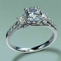 2.30Ct Round Cut White Three Diamond Engagement Ring in Solid 14K White ... - €238,87 EUR