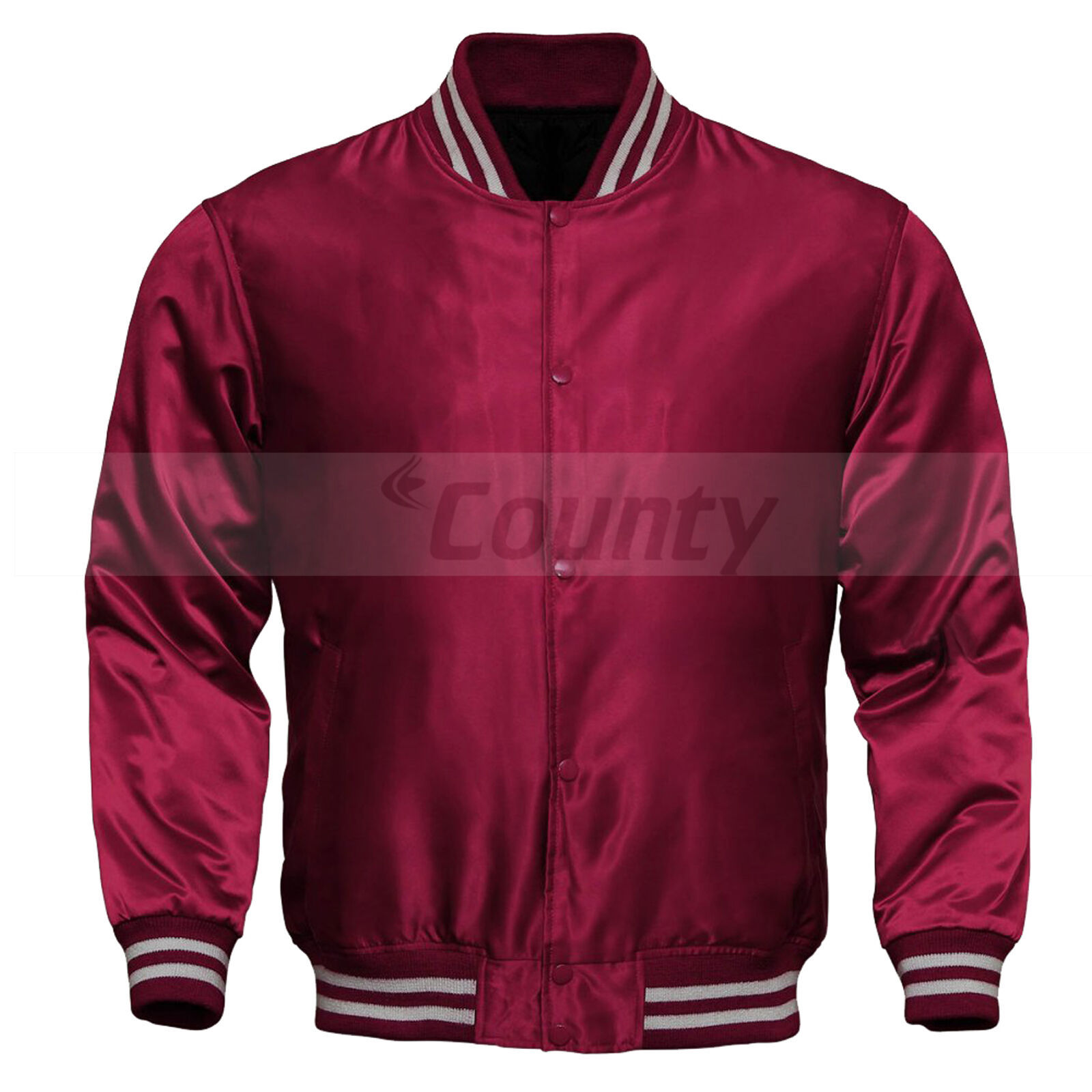 Primary image for Letterman Baseball College Varsity Quality Bomber Jacket SportsWear Maroon Satin