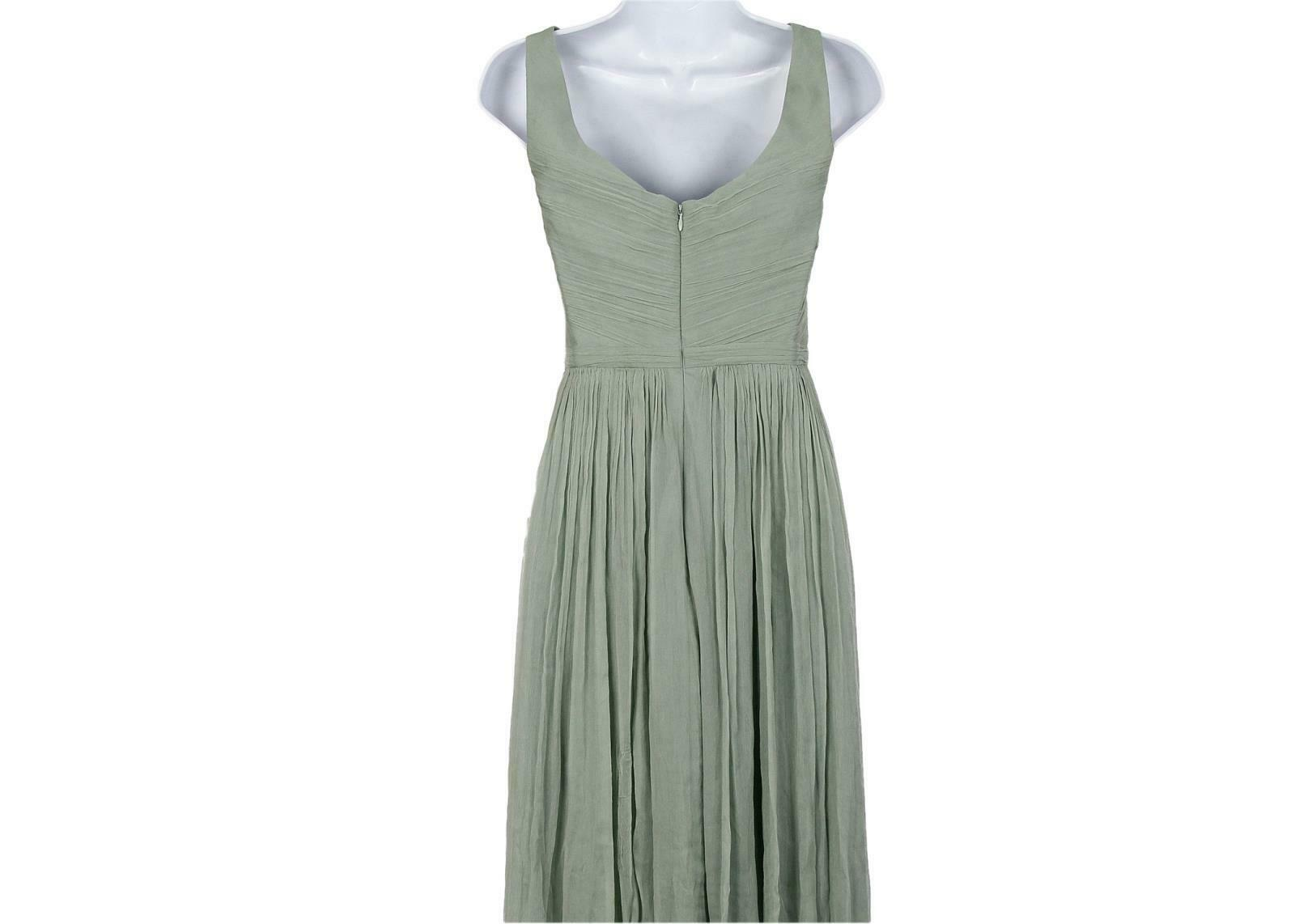 J Crew Women's Heidi Long Dress in Silk Chiffon Dusty Shale Sz 6 93075 image 4