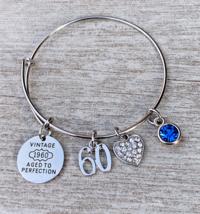 60th Birthday Bangle, 60th Birthday Gifts Women, Vintage 1960 Bracelet - €17,46 EUR