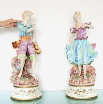 Vintage Figurine Italian Capodimonte Huge! 27 Inch!! Top Porcelain Italy Man Boy - $840.51