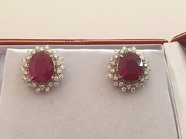 Solid 14K White Gold 7ct Natural Ruby & .75 ct (each) Diamond Stud Earrings - $6,799.00
