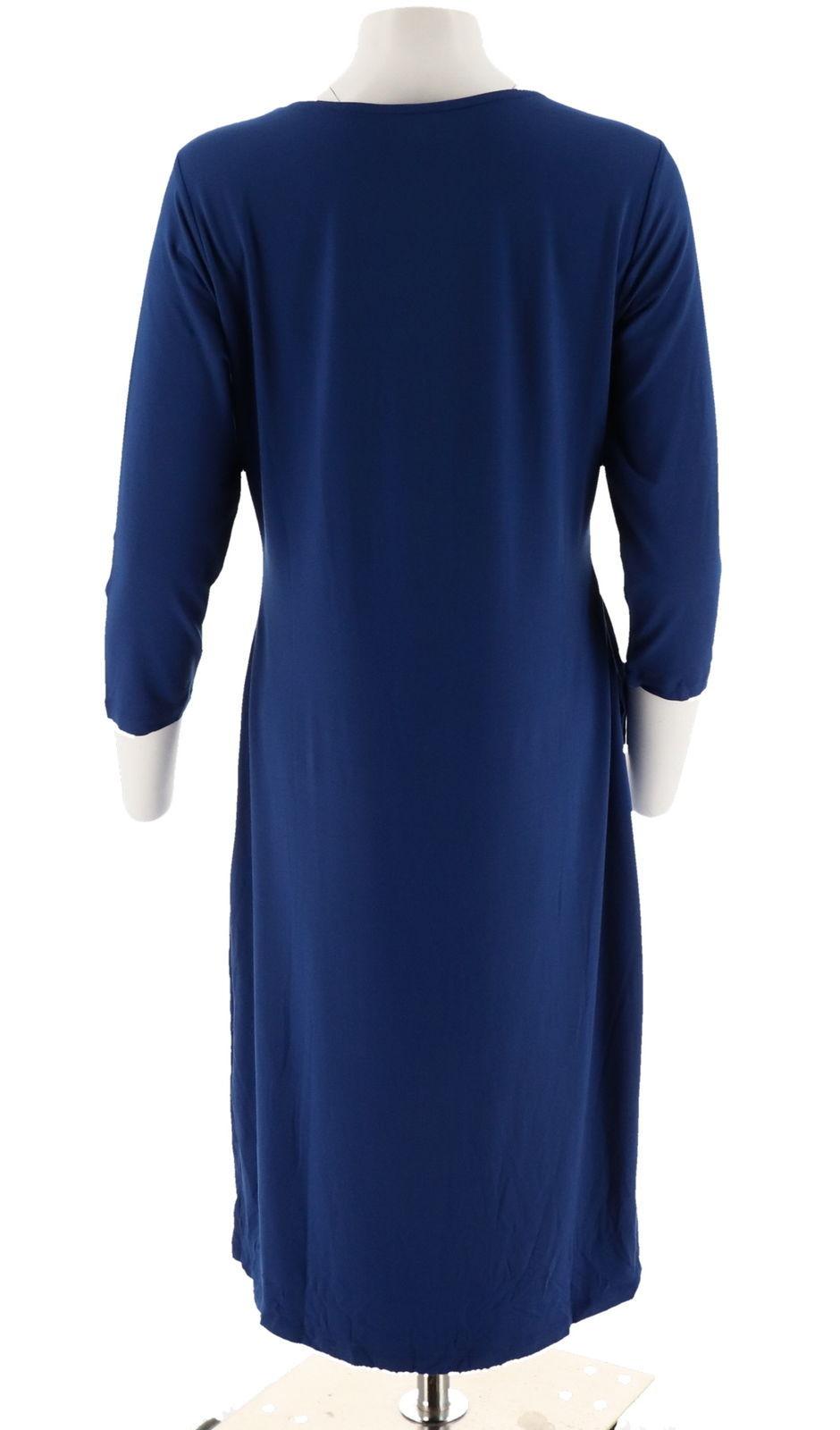 Halston 3/4 Slv Draped Front Crewneck Hi-Low Hem Dress Royal Blue XS NEW A280164 image 3