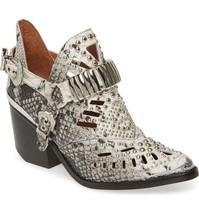 Jeffrey Campbell Calhoun-4 White/Black Snake Silver Leather Boots Size 6.5 - $108.89