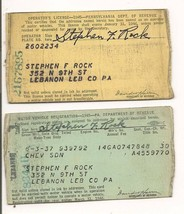 1945 Motor Vehicle Registration Chevrolet Sdn  & Driver's License Pennsy... - $2.99