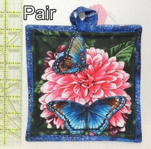 Pot Holders - Pair - Blue & Yellow Butterflies on Pink Flowers - PHDR - $8.00