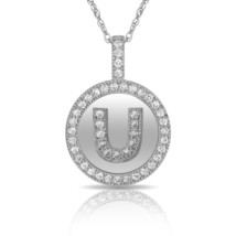 """14K Solid White Gold Round Circle Initial """"U"""" Letter Charm Pendant & Nec... - $30.99+"""