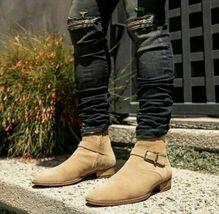 Handmade Men's Beige Suede Jodhpurs Ankle High Monk Strap Boots image 4