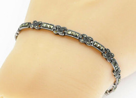 925 Sterling Silver - Vintage Marcasite Decorated X Link Chain Bracelet ... - $31.05