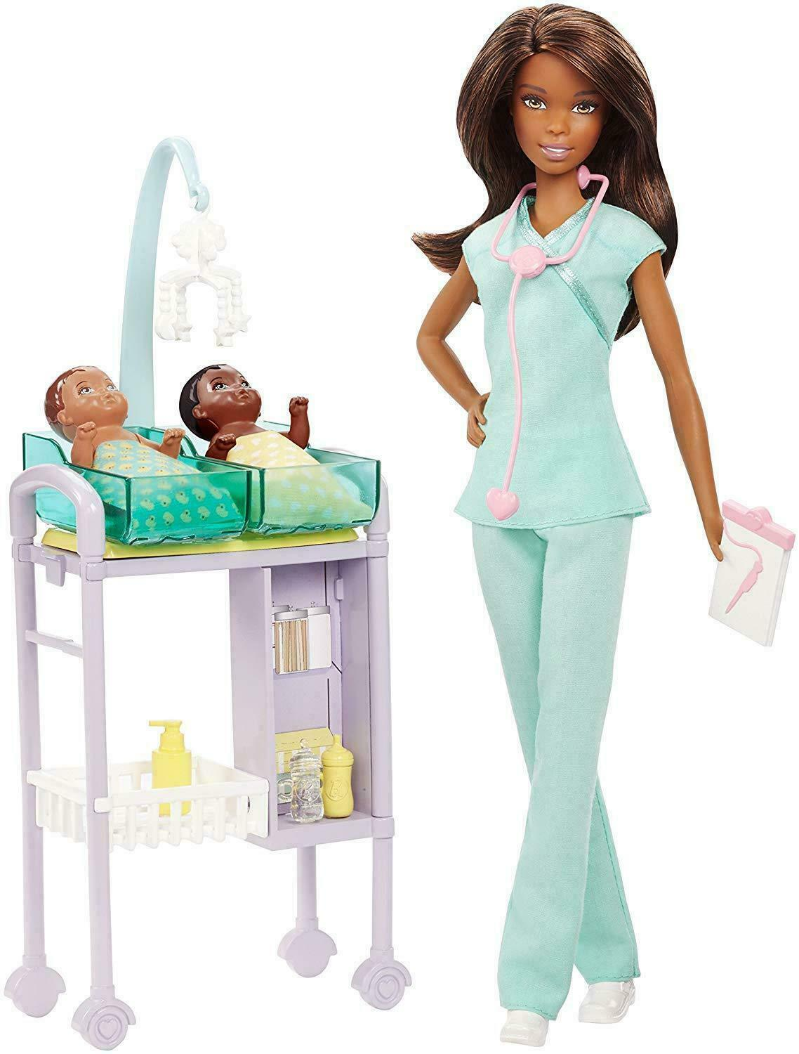 Primary image for Baby Doctor Barbie Doll # DVG12 Infant Baby Dolls African American Doll