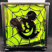 Disney Mickey Mouse Halloween Candle Votive Holder Glass Metal Green Ghost  - $9.89