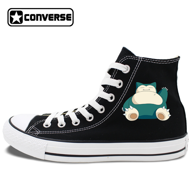 a887b06d86 Black Shoes High Top Converse All Star Anime Pokemon Snorlax Canvas Sneakers