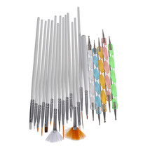 20pcs Nail Brushes Kit Doting Pen Manicure Tools Set Drawing Painting Liner Fan  - $17.20